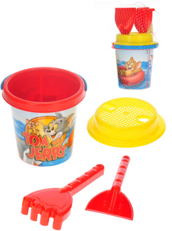 Sada na písek Tom&Jerry 4ks kyblík 14cm se sítkem a 2 nástroji plast