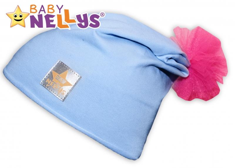 Bavlněná čepička Tutu květinka Baby Nellys ® - sv. modrá, 48-52 - 48/50 čepičky obvod
