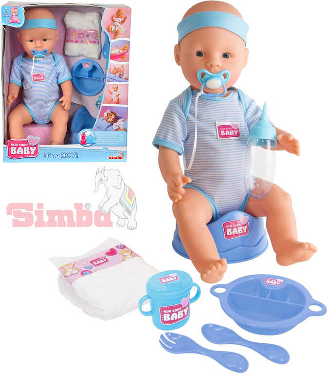 SIMBA New Born Baby panenka miminko chlapeček 43 cm pije čůrá set s doplňky