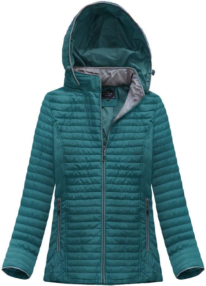 Prošívaná bunda v lahvově zelené barvě s kapucí (7039BIG)