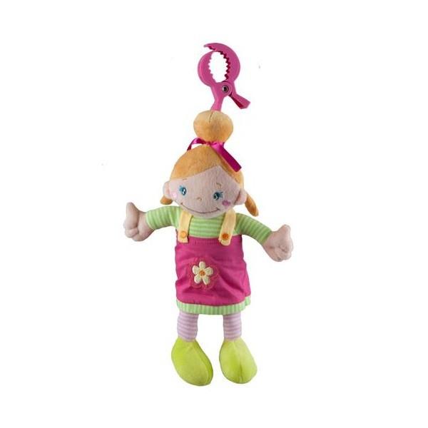 BabyOno Plyšová hračka Panenka blondýnka s melodií na zavěšení pro miminko