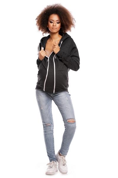 Be MaaMaa Těhotenská mikina VANDA s kapucí - tmavě šedá - XXL (44)