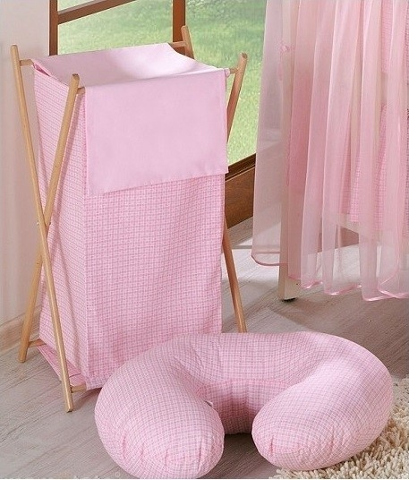 Praktický koš na prádlo - Kostička růžová