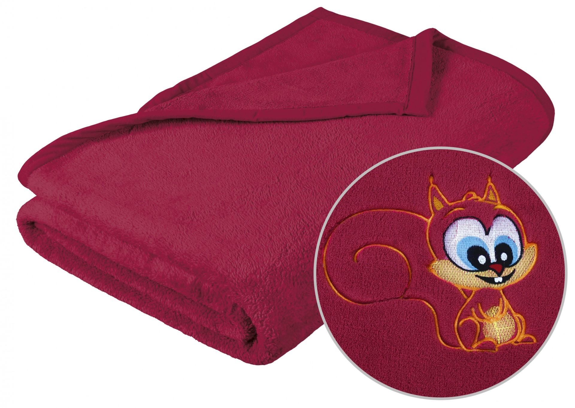 Dětská micro deka 75x100cm vínová s výšivkou
