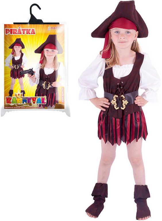 KARNEVAL Šaty Pirátka s kloboukem a doplňky vel.M (116-128 cm) 6-8 let KOSTÝM