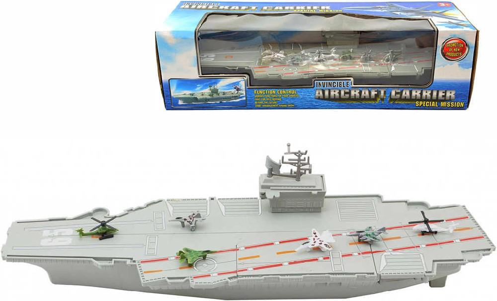 Loď letadlová plastová 47cm válečné plavidlo set s letadly v krabici