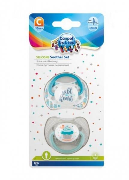 Sada symetrických dudlíků, 0 - 6 m, Canpol Babies - Wild heart, Cupcake