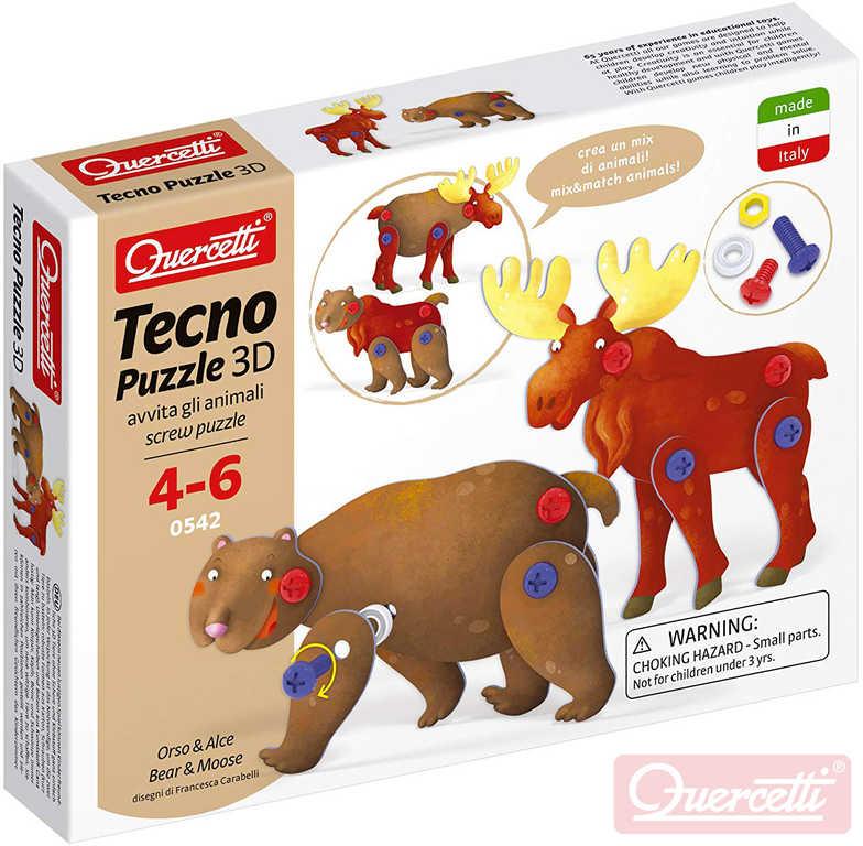 QUERCETTI Tecno Puzzle pohyblivé 3D medvěd + los 26 dílků STAVEBNICE