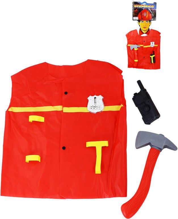 KARNEVAL Plášť hasičský s doplňky vel.S (104-122 cm) 3-7 let KOSTÝM