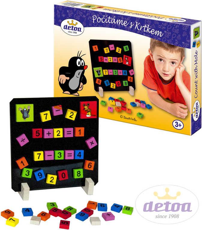 DETOA DŘEVO Hra Počítáme s Krtkem (Krteček) set s magnetky 40 ks
