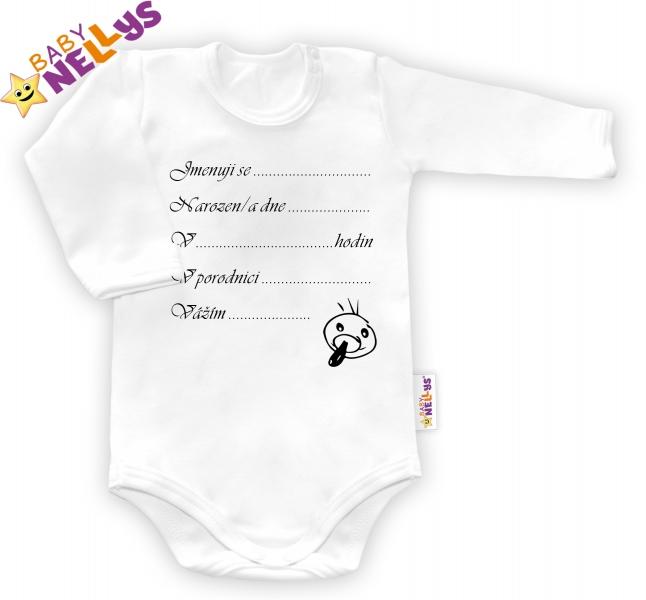 Body dl. rukáv Baby Nellys ® - bílé