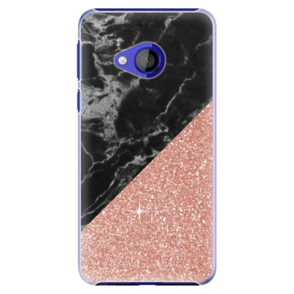 Plastové pouzdro iSaprio - Rose and Black Marble - HTC U Play
