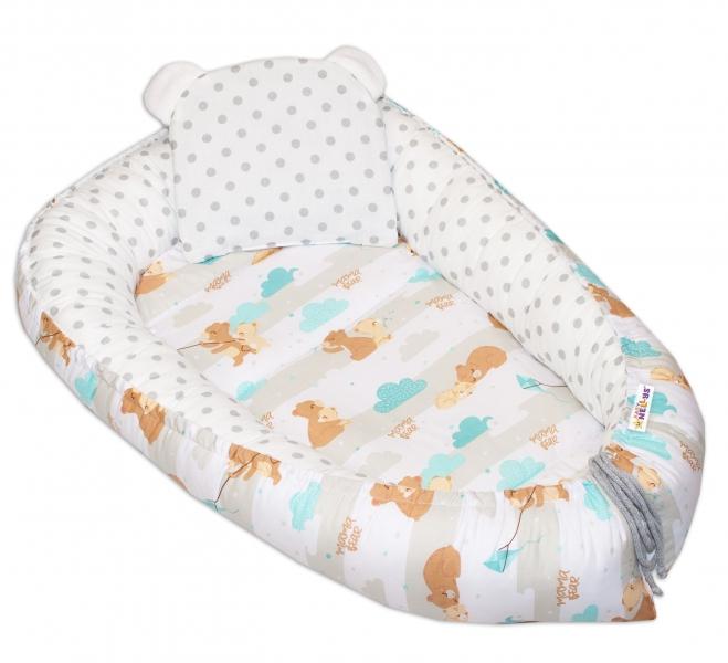 baby-nellys-oboustranne-hnizdecko-kokon-60x90cm-medvidek-velke-puntiky-hneda-bila
