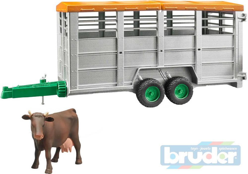 BRUDER 02227 (2227) Auto přepravník na zvířata set s figurkou kráva model 1:16 plast