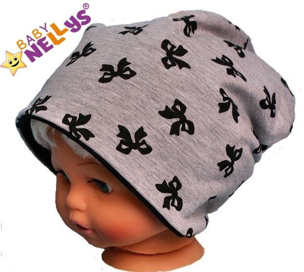 Bavlněná čepička s mašličkami Baby Nellys ® - šedý melírek - 50/52 čepičky obvod