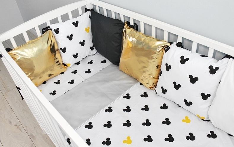 baby-nellys-polstarkovy-mantinel-s-povlecenim-shine-135x100-mickey-zluta-b19-135x100