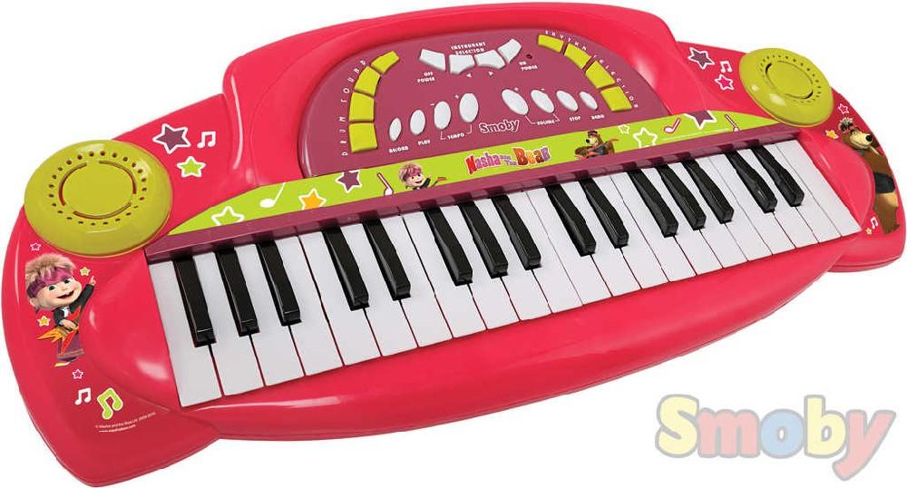 SMOBY Klávesy elektronické Máša a medvěd růžové pianko na baterie plast