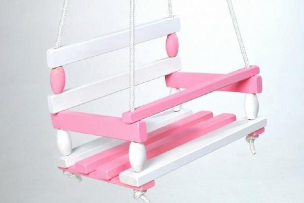 Houpačka dřevo bílo růžová 38x30cm nosnost 80kg v sáčku