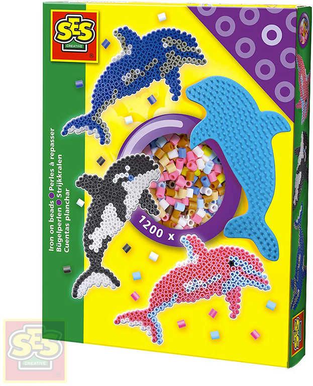 SES CREATIVE Korálky zažehlovací delfín kreativní set 1200ks s podložkou