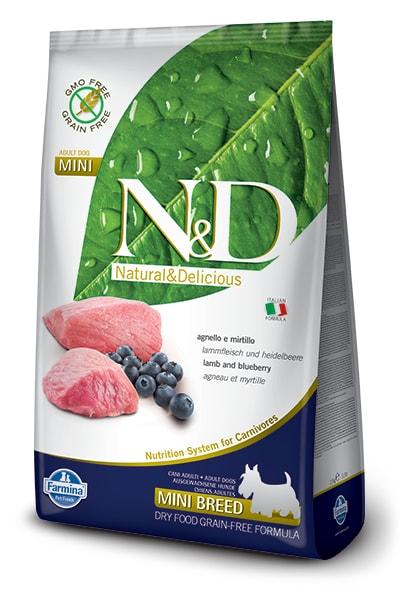 N&D GF DOG Adult Mini Lamb & Blueberry 800g