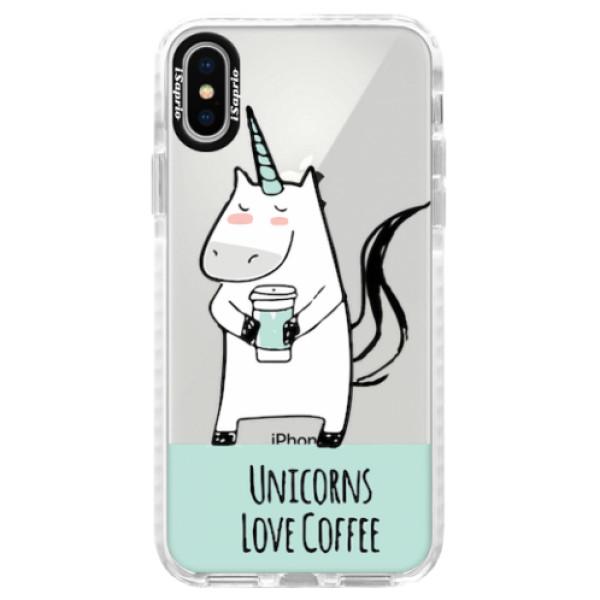 Silikonové pouzdro Bumper iSaprio - Unicorns Love Coffee - iPhone X