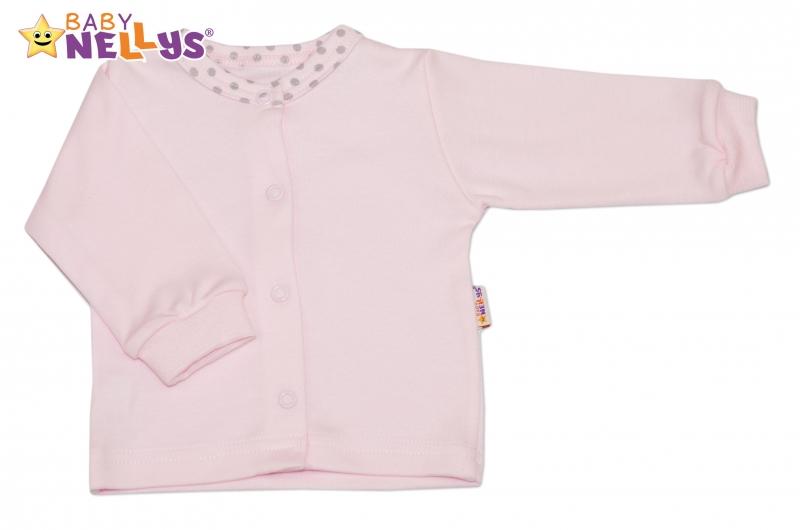 Bavlněná košilka Baby Nellys® PUNTÍKY - sv. růžový/sv. šedé puntíky - 68 (4-6m)