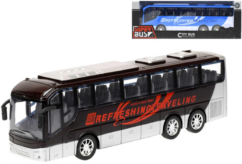 Autobus zájezdový na setrvačník 32cm různé druhy v krabici