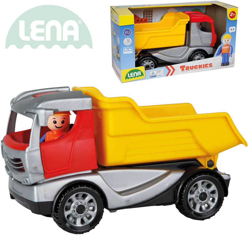 LENA Truckies sklápěč 22 cm set baby autíčko + panáček 01620