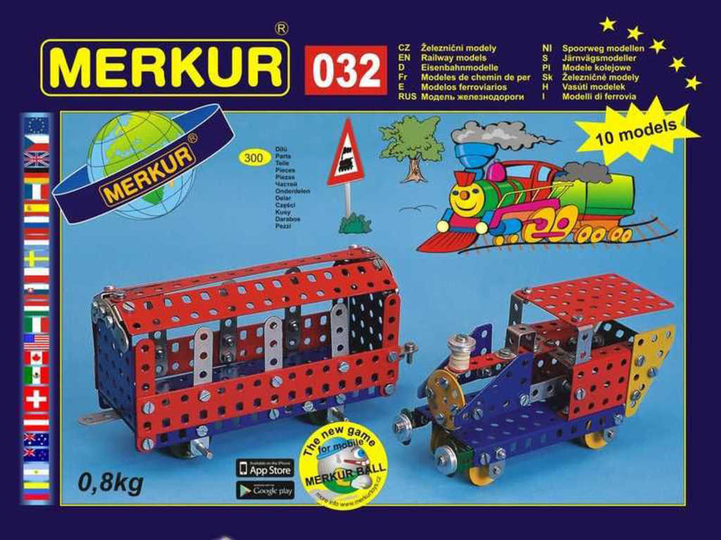 MERKUR 032 Železniční modely * KOVOVÁ STAVEBNICE *