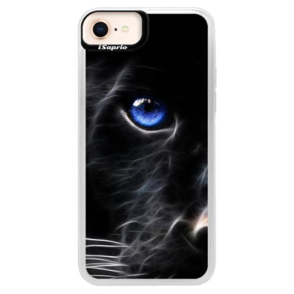 Neonové pouzdro Blue iSaprio - Black Puma - iPhone 8