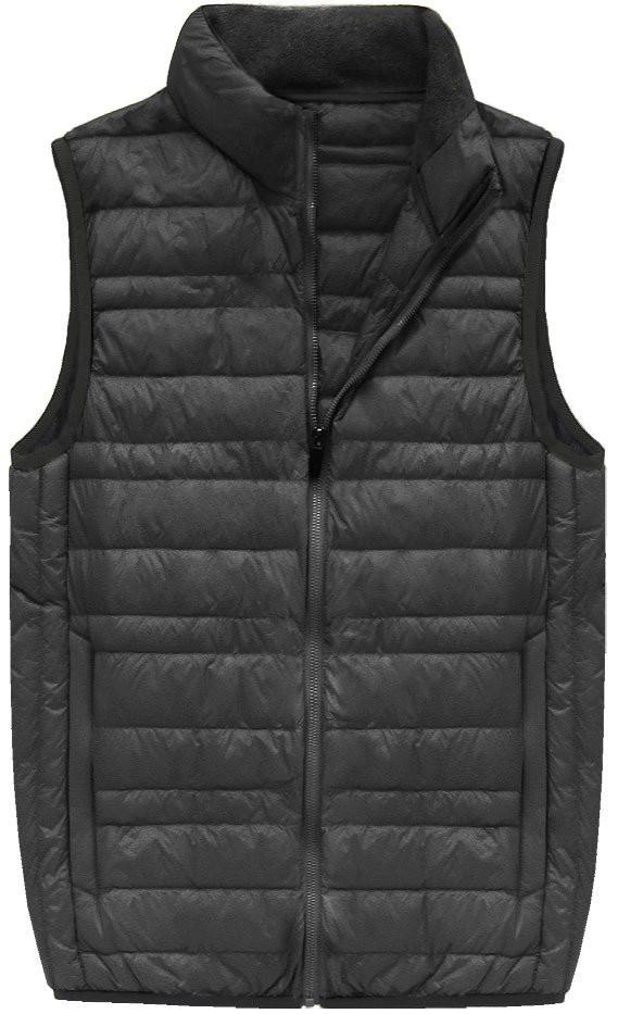 Šedá pánská vesta s přírodní vycpávkou (5008)