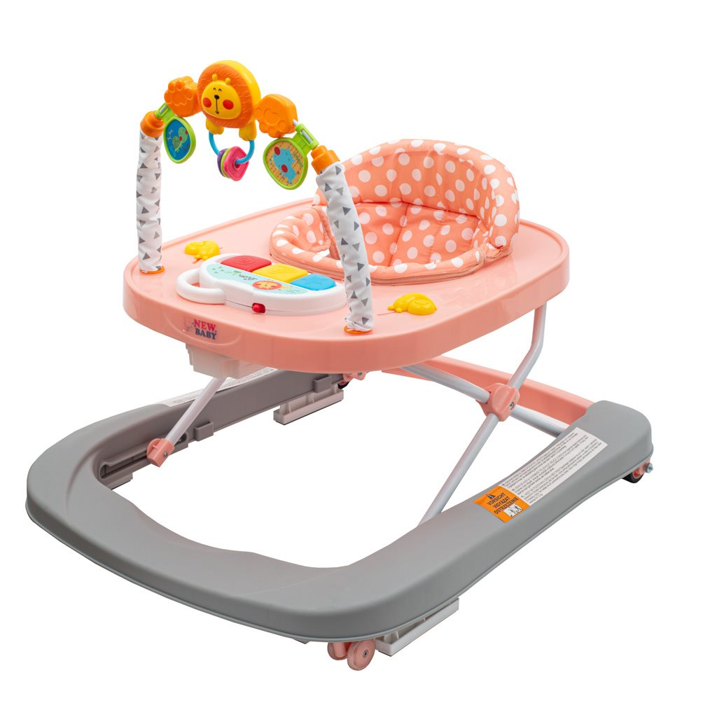 Dětské chodítko se silikonovými kolečky New Baby Forest Kingdom - Pink - růžová