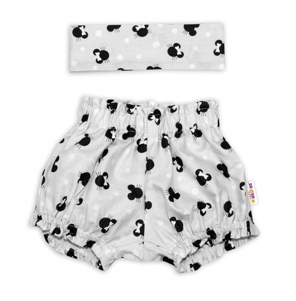 Bavlněné kraťásky s čelenkou Baby Nellys - Minnie šedé, vel. 0 -1 rok - 0-1rok