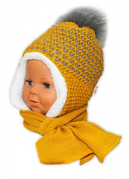 BABY NELLYS Zimní čepička s kožíškem a šálou - hořčicová - 6/24 měsíců