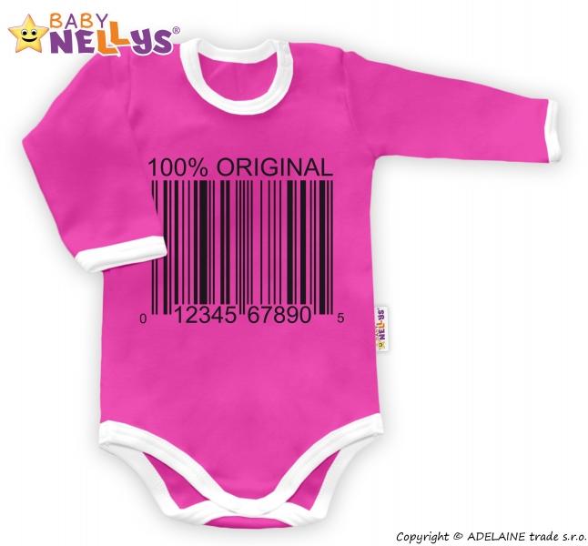 Baby Nellys Body dlouhý rukáv 100% ORIGINÁL - růžové/bílý lem - 80 (9-12m)