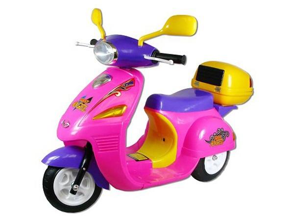 Skútr dětský moped na baterie elektrické vozítko pro holčičky růžové Světlo Zvuk