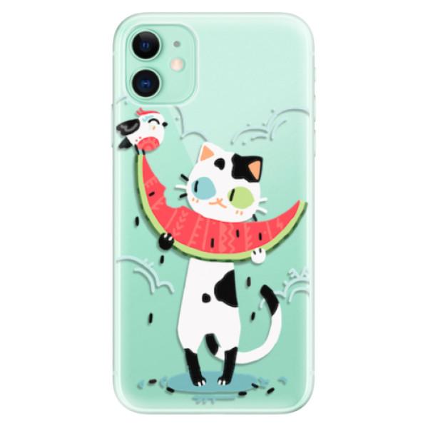 Odolné silikonové pouzdro iSaprio - Cat with melon - iPhone 11