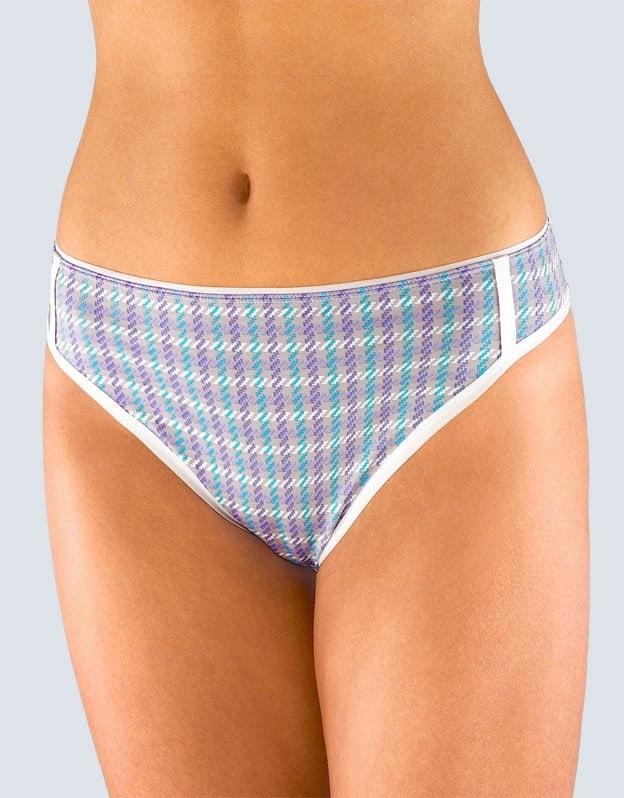 GINA dámské kalhotky klasické s úzkým bokem, úzký bok, šité, s potiskem British 10984P - šedá aqua - 34/36
