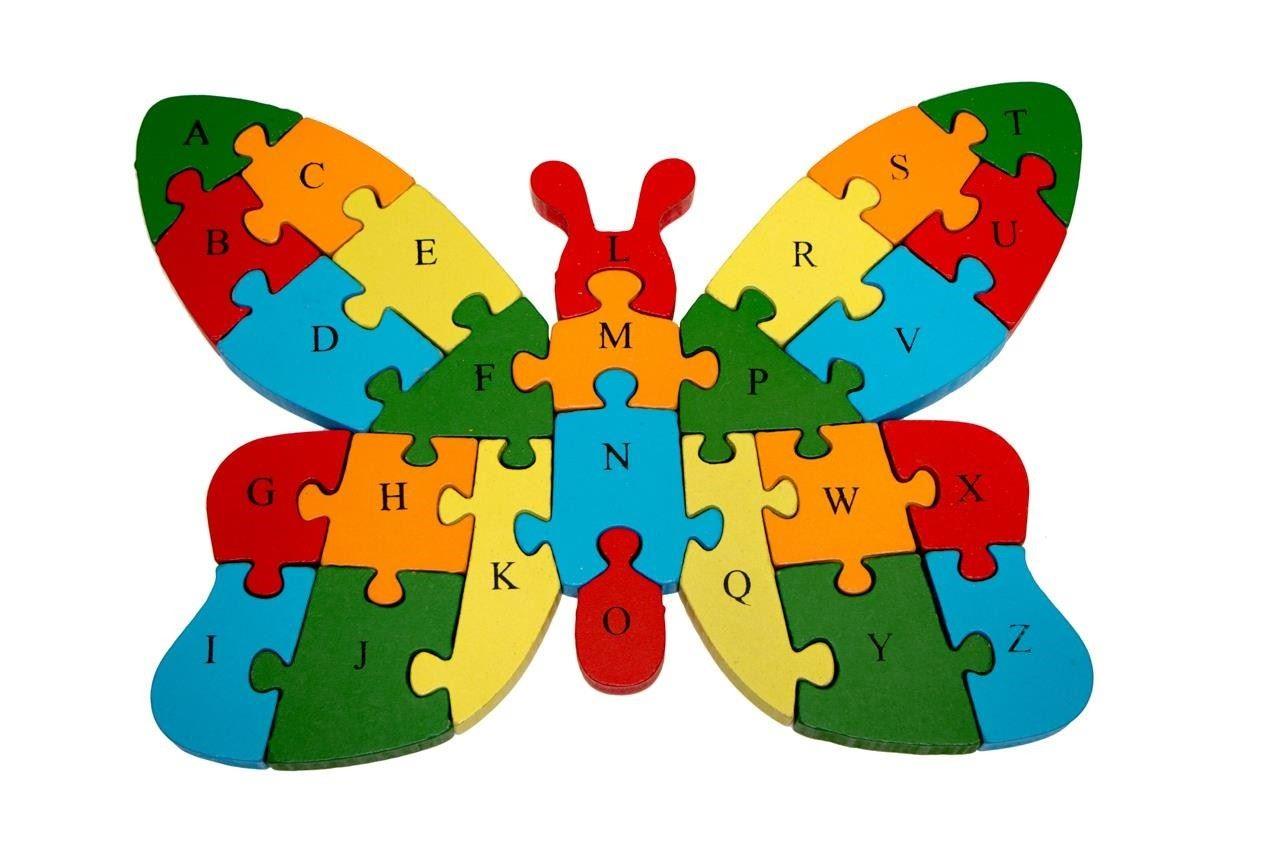 Vzdělávací dřevěné puzzle - motýl