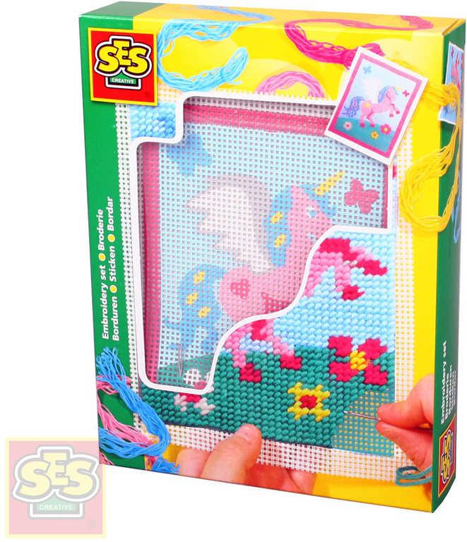 SES CREATIVE Dečka dětská vyšívací Jednorožec set s bavlkami malá švadlenka