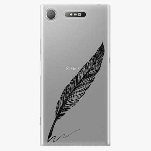 Plastový kryt iSaprio - Writing By Feather - black - Sony Xperia XZ1