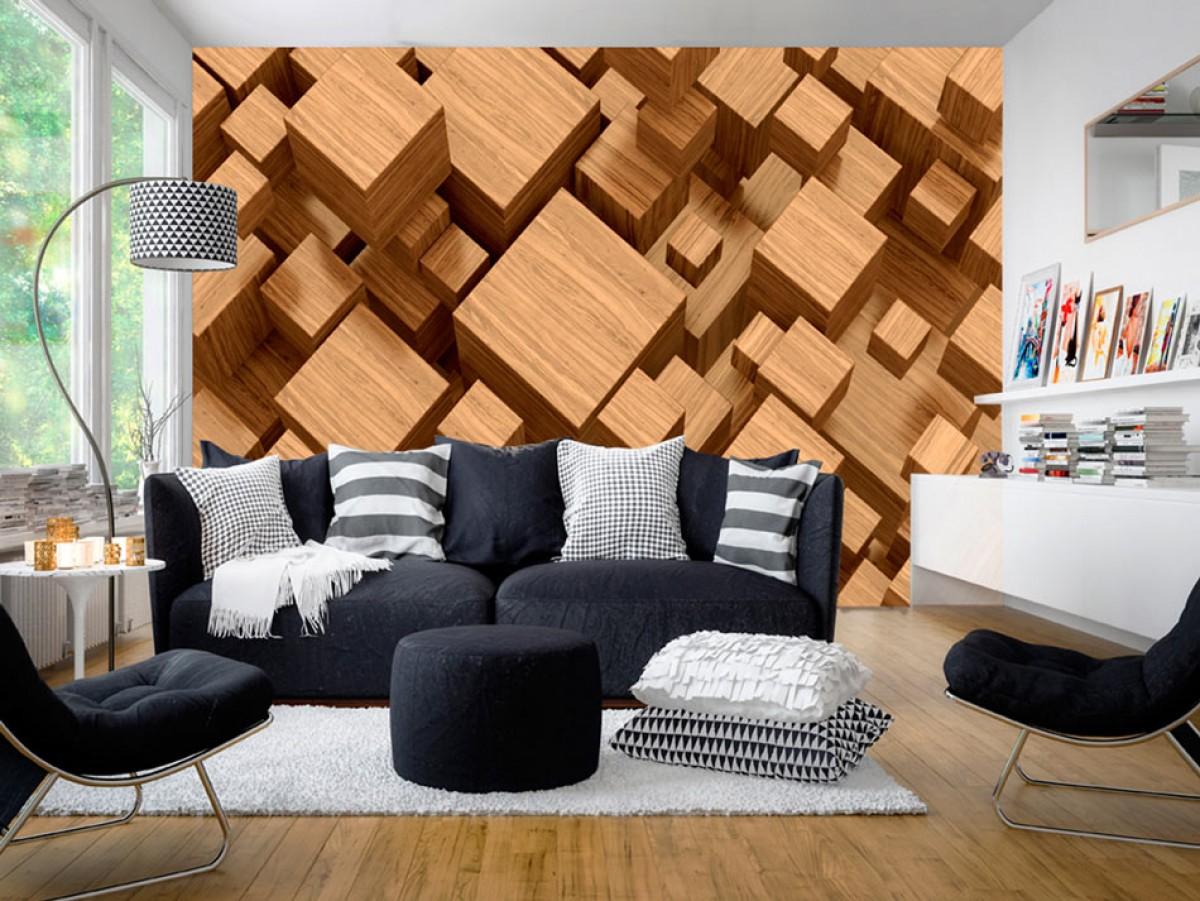 3D tapeta - Dřevěná skládanka II.