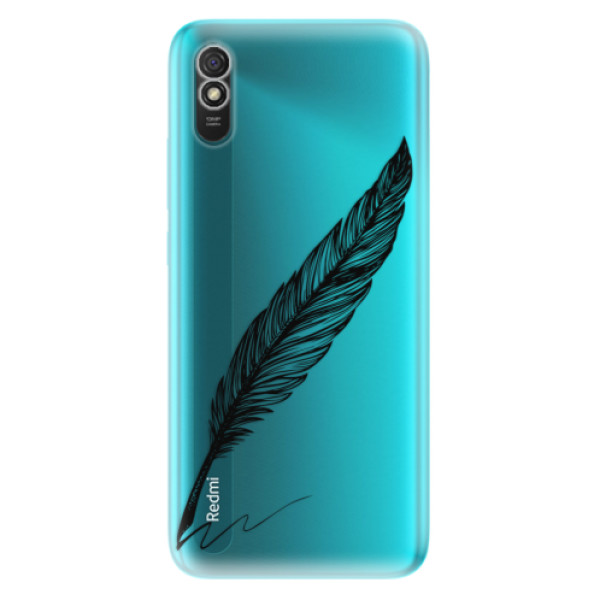 Odolné silikonové pouzdro iSaprio - Writing By Feather - black - Xiaomi Redmi 9A