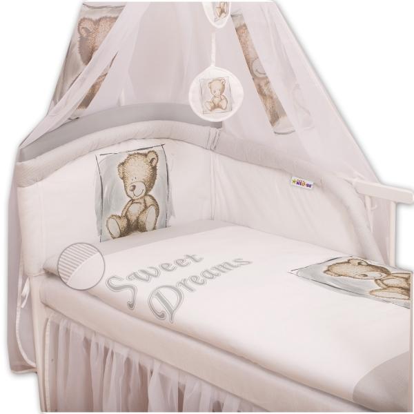 Baby Nellys Povlečení Sweet Dreams by Teddy - šedý/bílý - 135x100