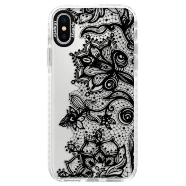 Silikonové pouzdro Bumper iSaprio - Black Lace - iPhone X