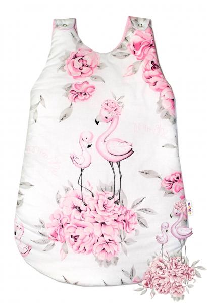 Bavlněný spací vak Baby Nellys, Plameňák, 74 cm - růžový