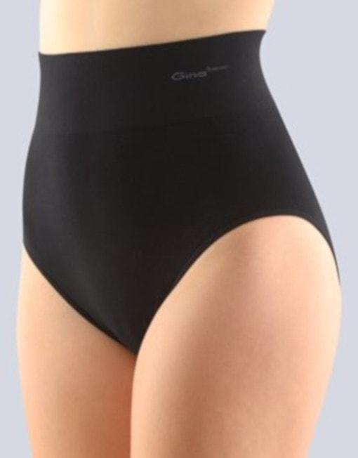 GINA dámské kalhotky klasické se širokým bokem, bezešvé, Bamboo PureLine 00036P - černá