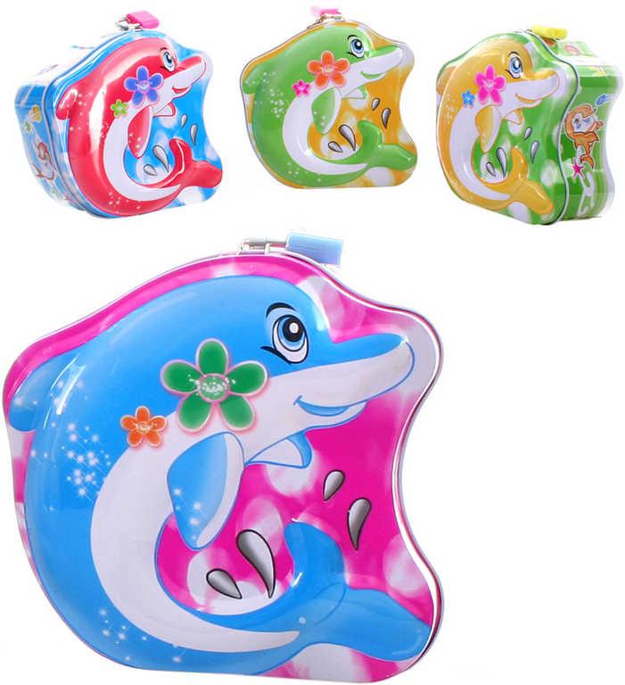 Pokladnička delfín set se 2 klíčky plechová kasička kov 4 barvy