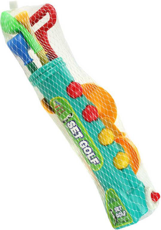 HRA Golf dětský plastový set vozíček s hůlkami, míčky a doplňky