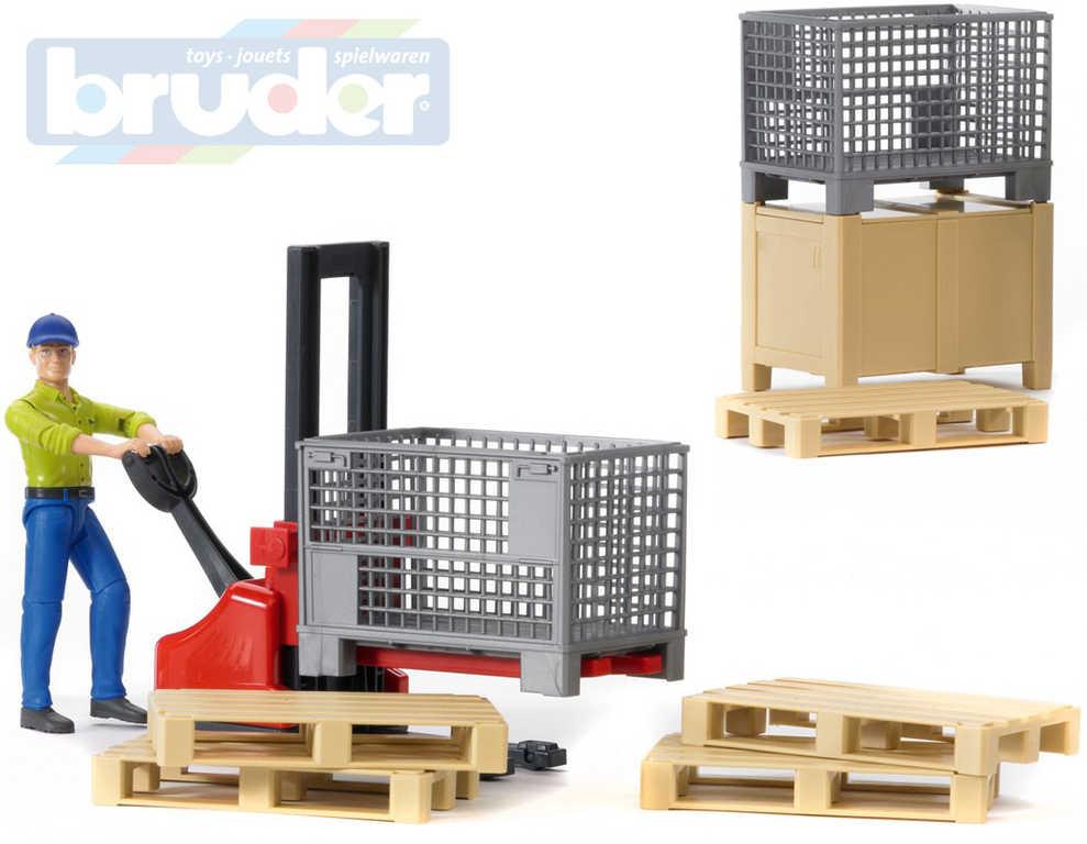 BRUDER 62200 Set logistický figurka muž s paletovým vozíkem a doplňky